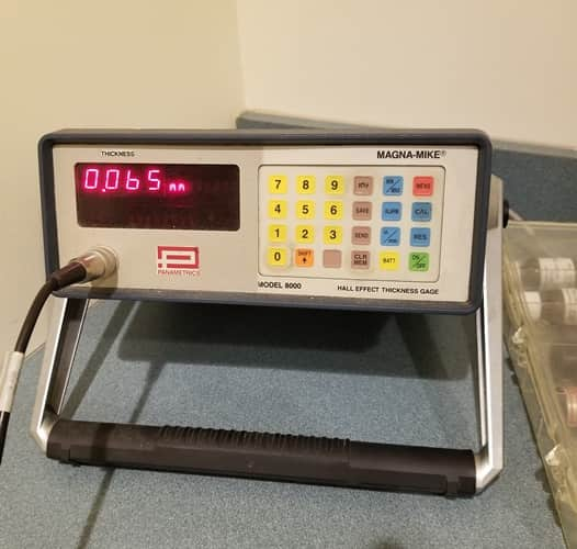 Panametrics Magna-Mike 8000 Hall Effect Thickness Gage with Probe & Stand