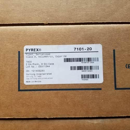 CORNING PYREX 7101-20 REUSABLE CLASS VOLUMETRIC PIPET STERILIZED 2/PACK 3/Cs