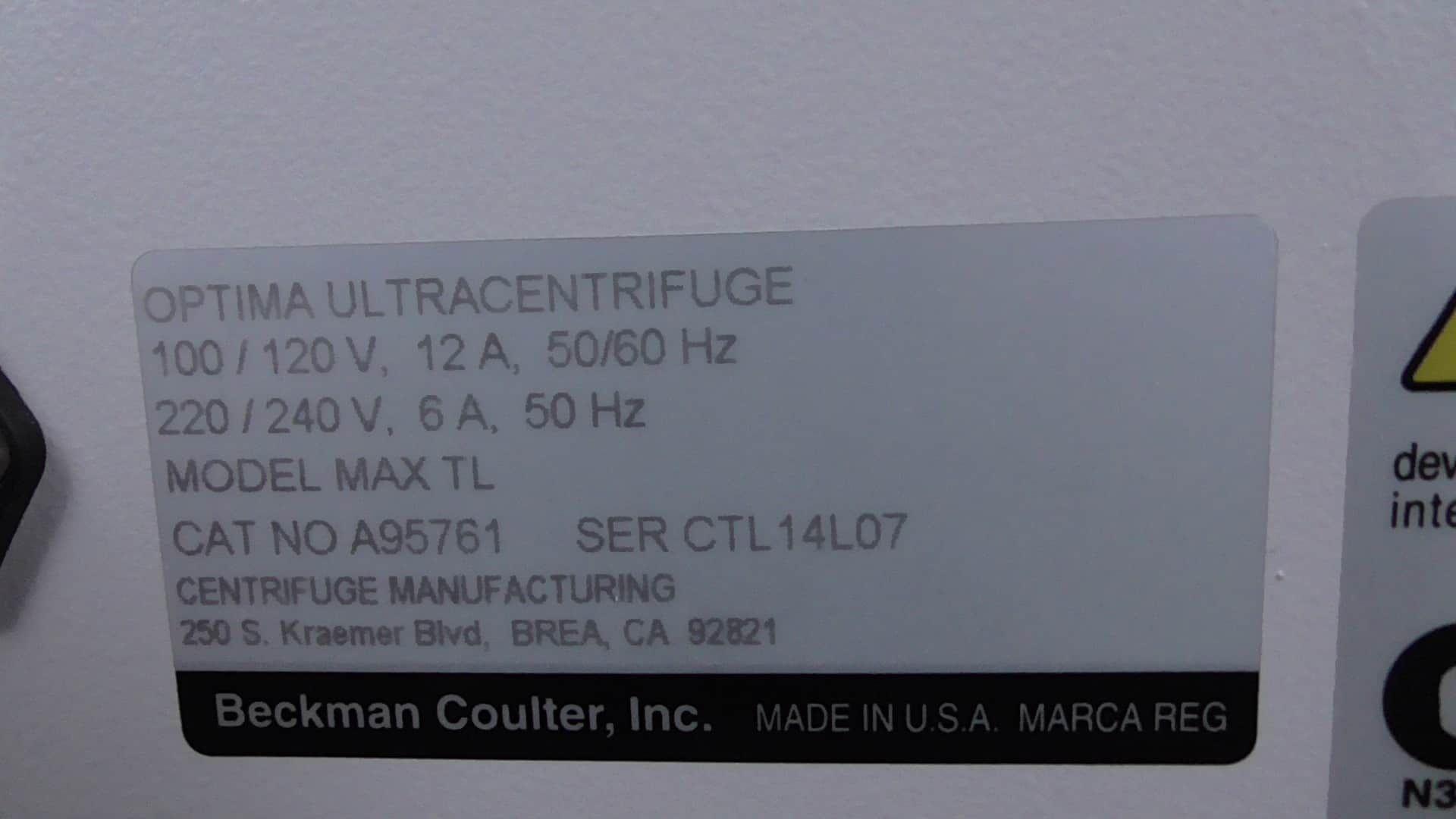 Beckman Coulter Optima Max-TL Ultracentrifuge