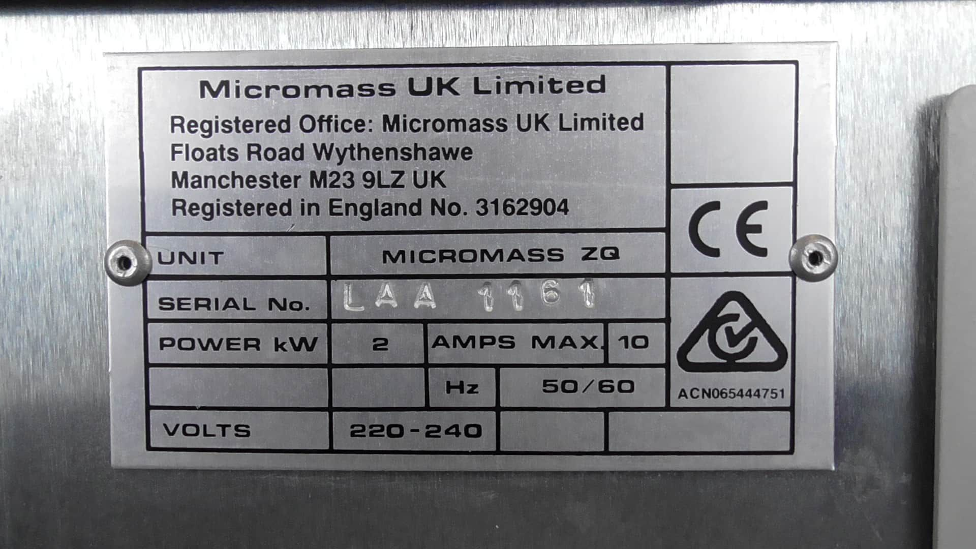 Waters Micromass ZQ Spectrometer