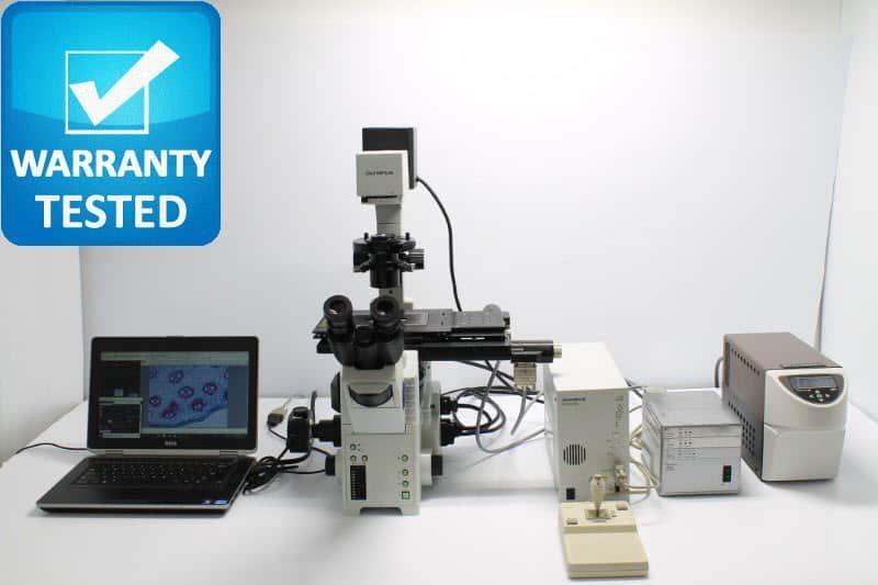 Olympus IX81 Inverted Fluorescence Motorized Phase Contrast Microscope - AV