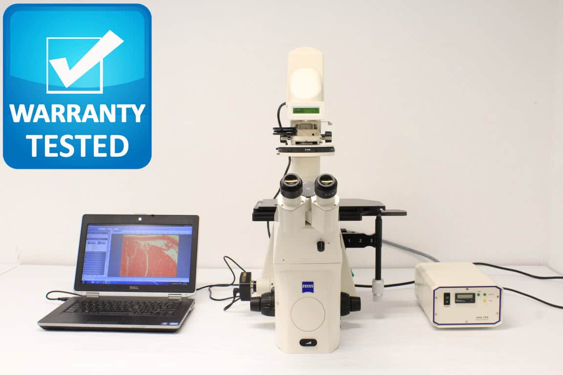 Zeiss Axiovert 200 Inverted Microscope Fluorescence Phase Contrast