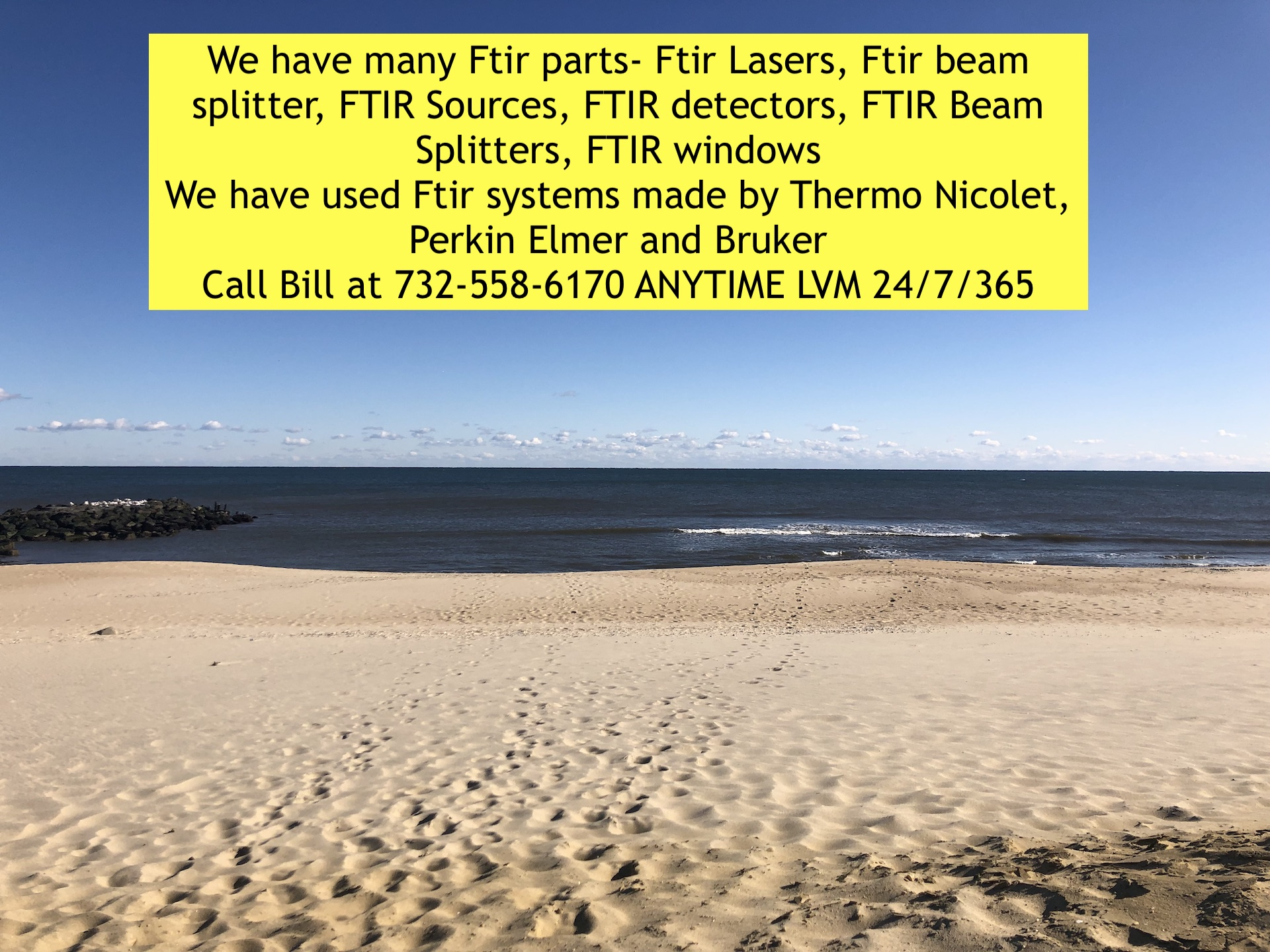 used Ftir systems, Ftir Lasers, Ftir beam splitter, FTIR Sources, FTIR detectors, FTIR Beam Splitter