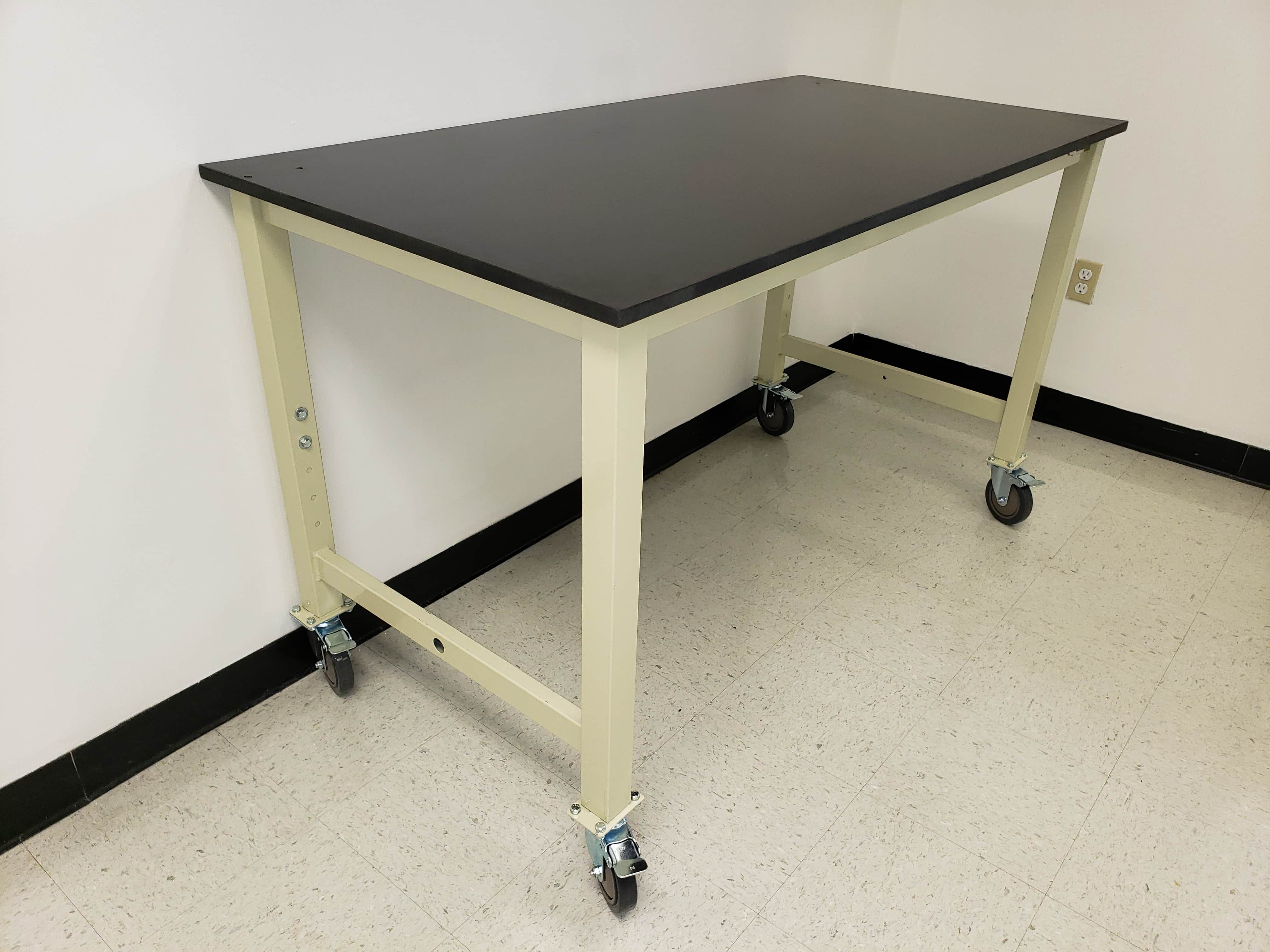 """6 foot adjustable lab table (72"""" long x 30"""" deep) - (30-36"""" height) with phenolic resin countertop (NEW)"""