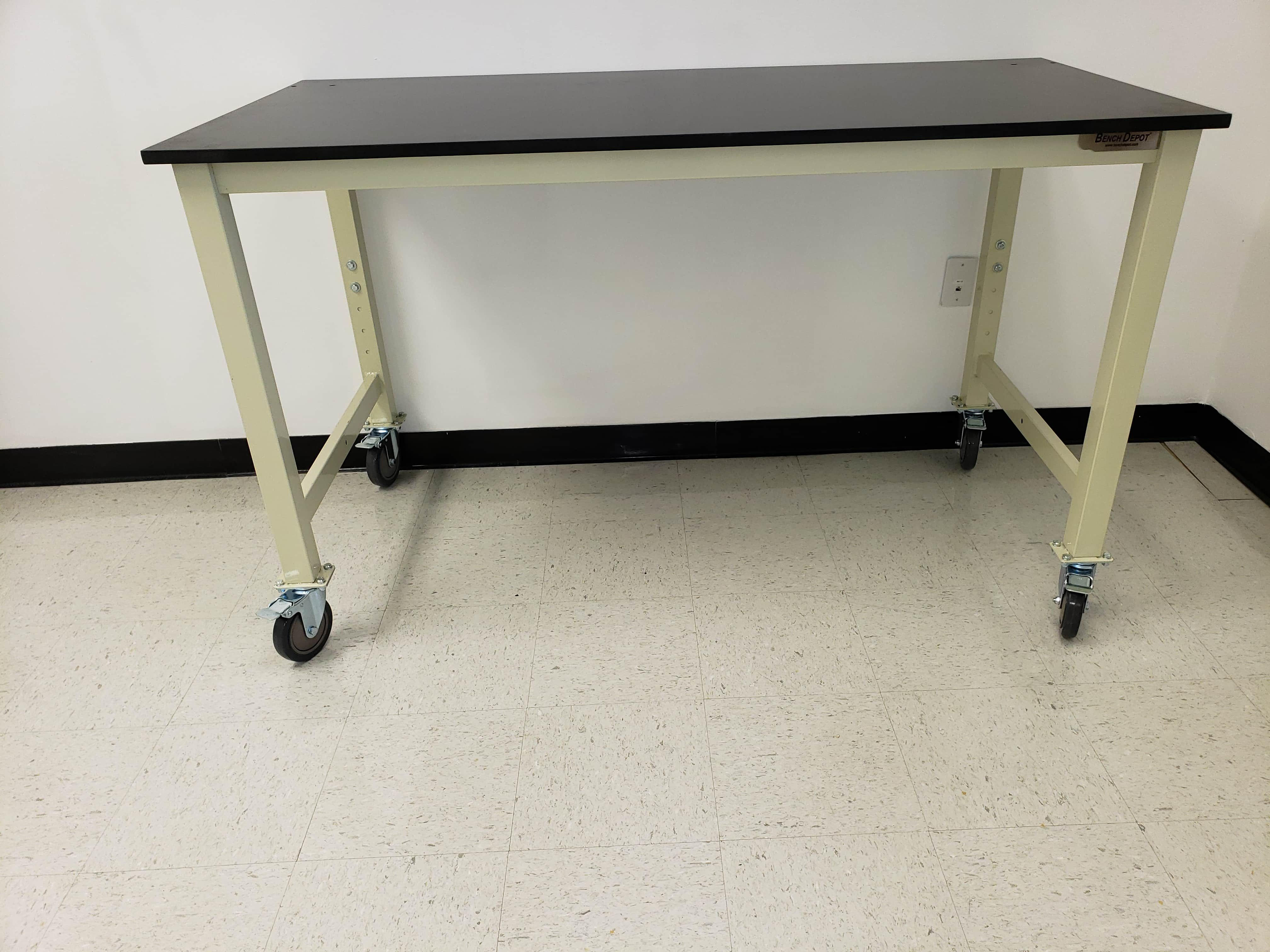 """4 foot adjustable lab table (48"""" long x 30"""" deep) with phenolic resin countertop (NEW)"""