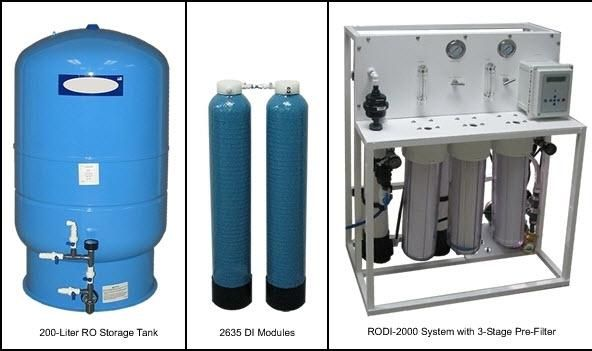AQUA SOLUTIONS Model: RODI-2000-03BL-High Flow Type I Biological Grade Low TOC RO+DI System With UV