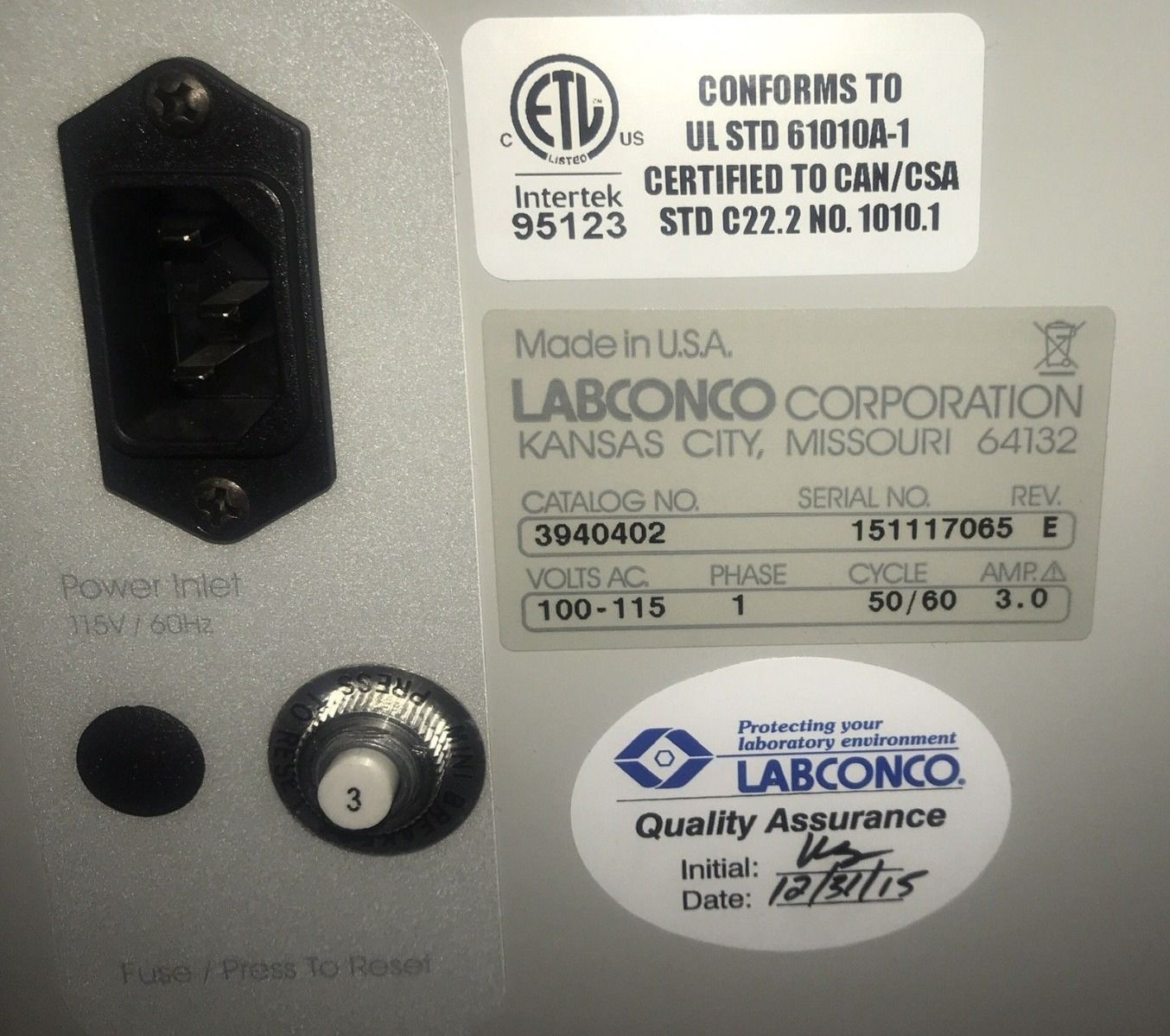 2015 Labconco Xpert 4ft Class I HEPA, Biosafety Balance Hood , Fully Tested