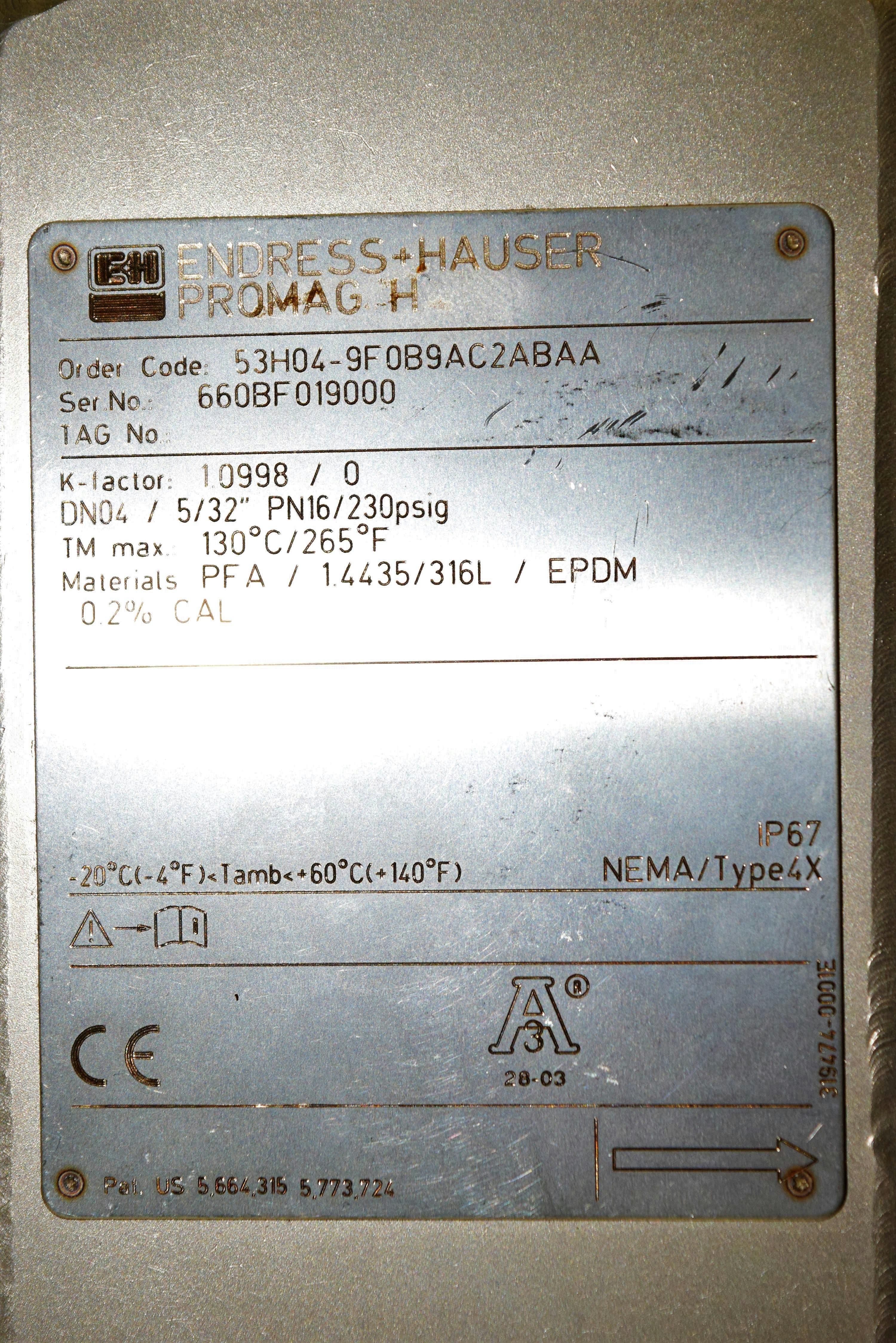 Endress Hauser Promag H Flow Meter 53H04-9F0B9AC2ABAA f/ Amersham