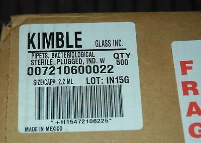 Case (500) Kimble Bacteriological Milk Pipets Pipettes 72106-22 2.2ml -NOS