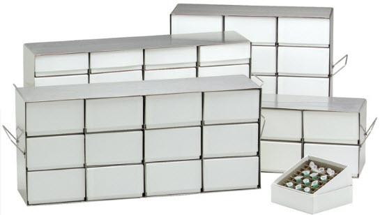 "NuAire Inventory Racks 20 x 2"" (51 mm) Boxes with 81 cell Dividers Per Box"