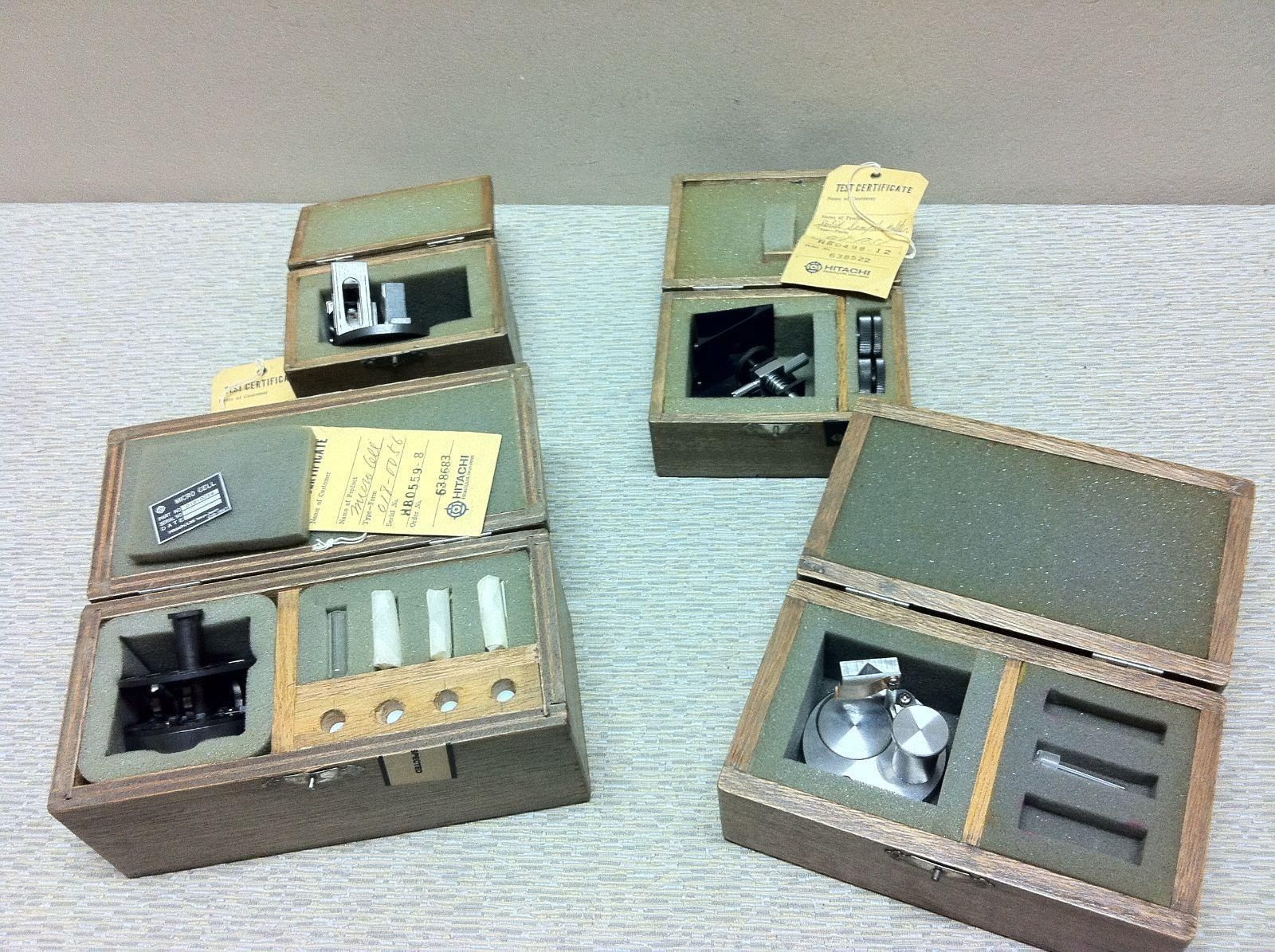(3) Vintage Hitachi sample holders for Perkin Elmer MPF-2A spectrofluorometer
