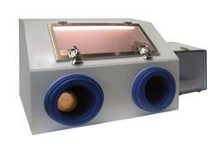 Cleatech Portable Glove box, Two port, White Polypropylene w/ Static Dissipative PVC window