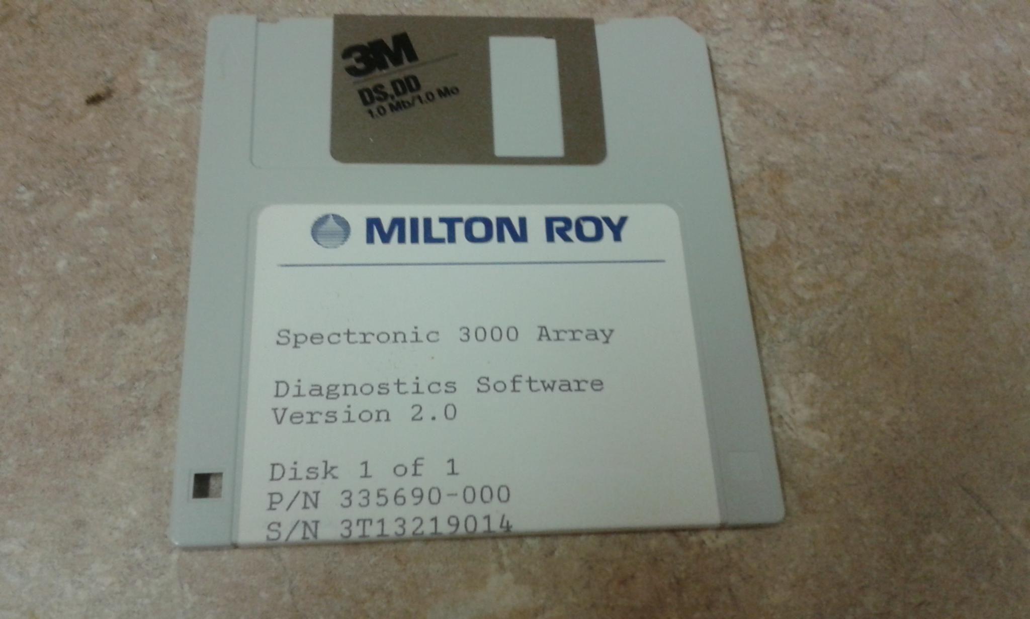 Milton Roy  Spectronic  3000 Array Software