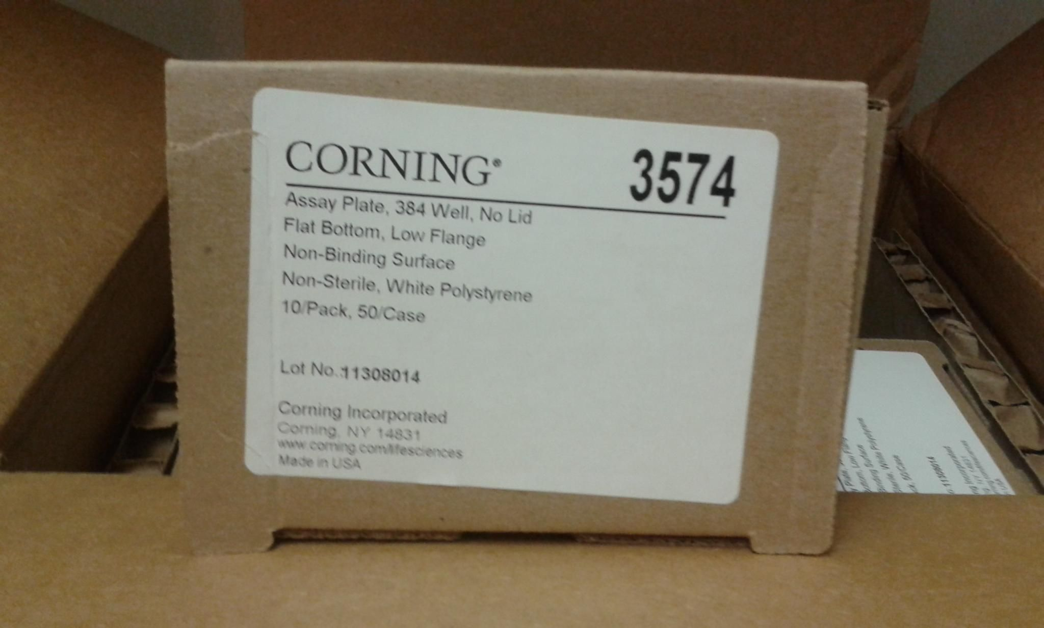 Corning 384 Well Low Flange White Flat Bottom Polystyrene NBS Microplate, 50/case