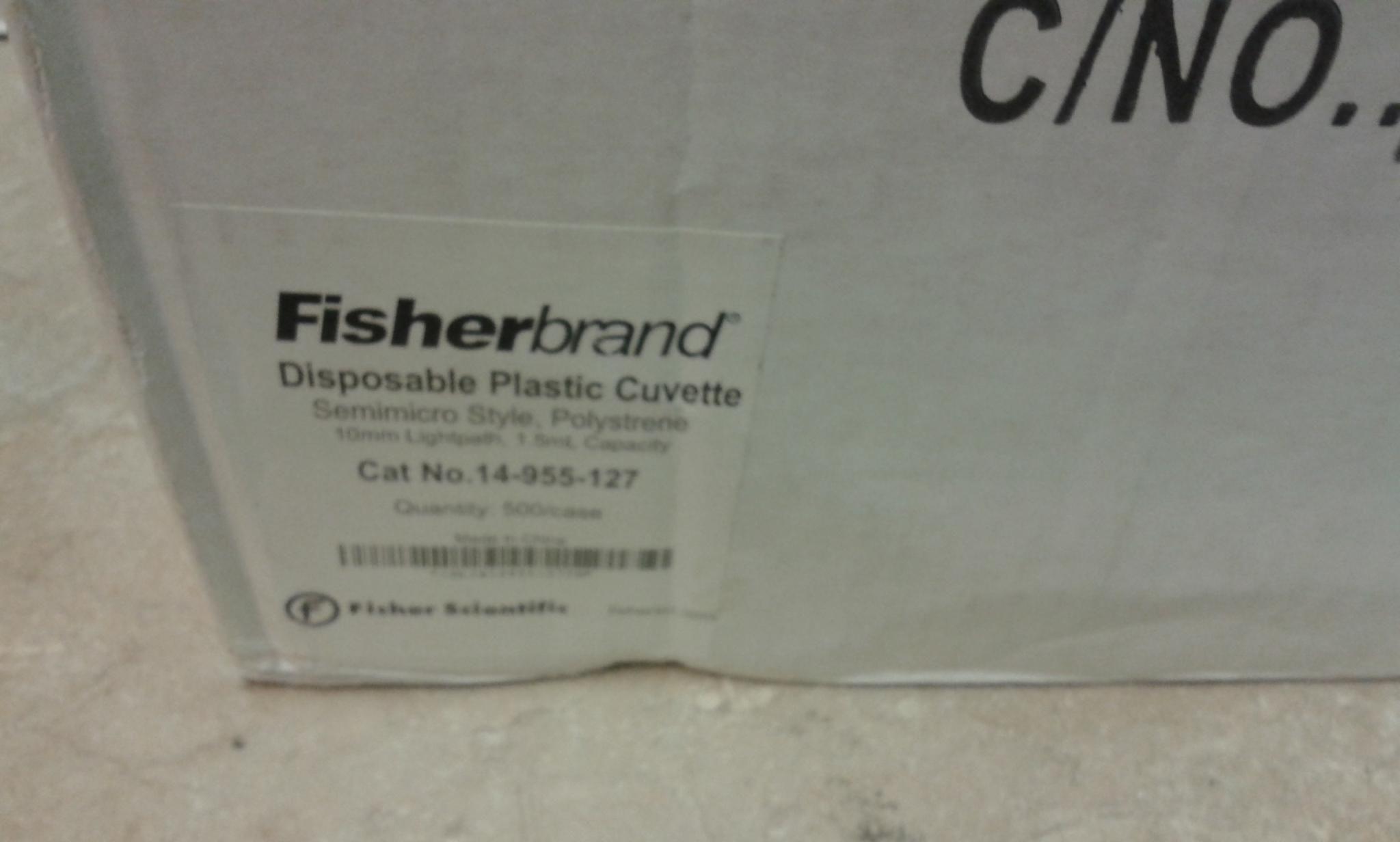 Fisherbrand disposable semi-micro Cuvette,500/case,10mm lightpath,1.5ml capacity,