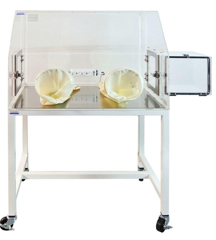 Isolation Laboratory Glovebox Two Port Clear Acrylic 35x24x25