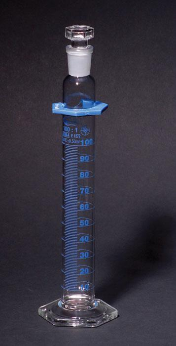 GRADUATED CYLINDERS, DOUBLE SCALE, CLASS A, BATCH CERT., WITH STOPPER