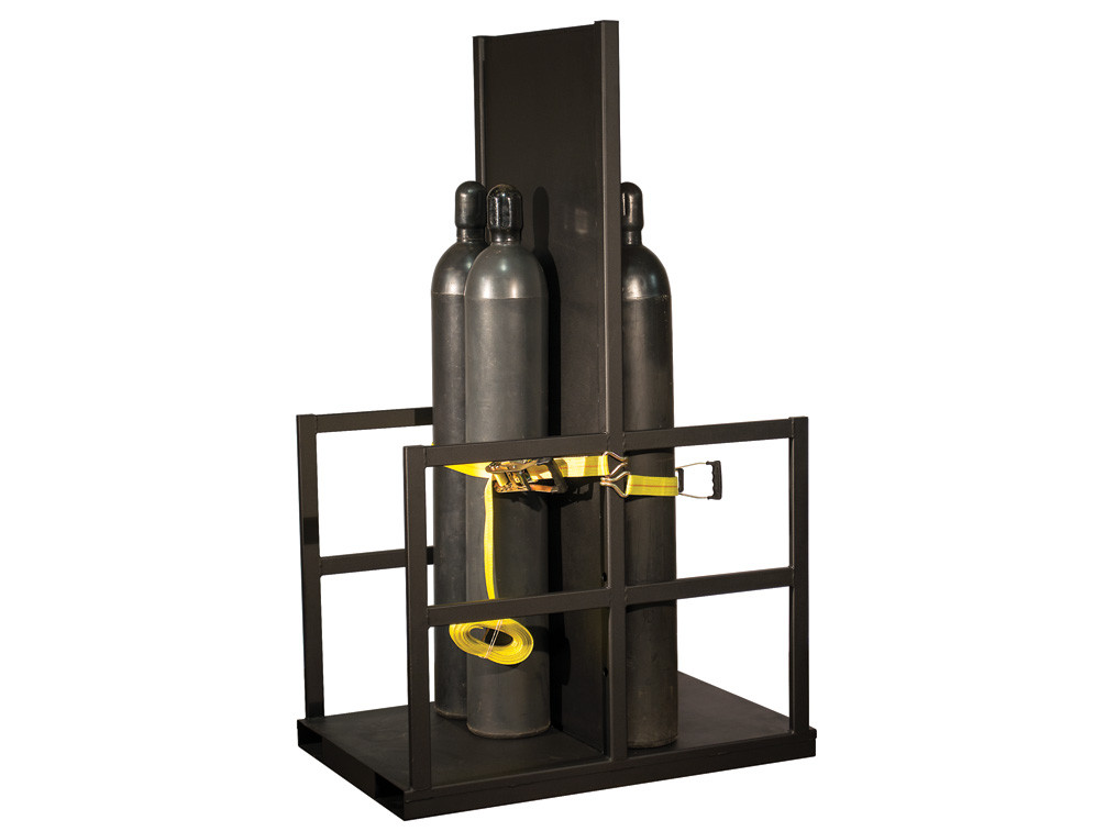Gas Cylinder Forklift Pallet With Firewall, 12 Cylinder Capacity, End Loaded