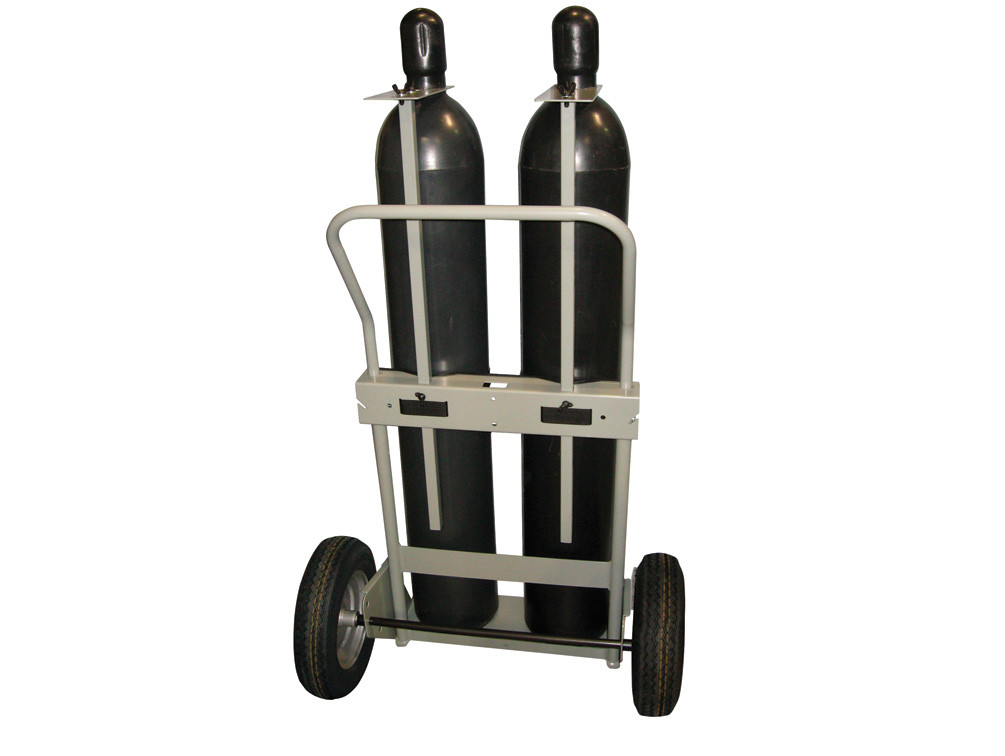 Double Cylinder Hand Truck, 16 Inch Pneumatic Wheels with Rear Casters
