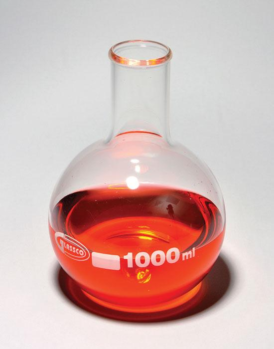 BOILING FLASK, FLAT BOTTOM, BOROSILICATE GLASS
