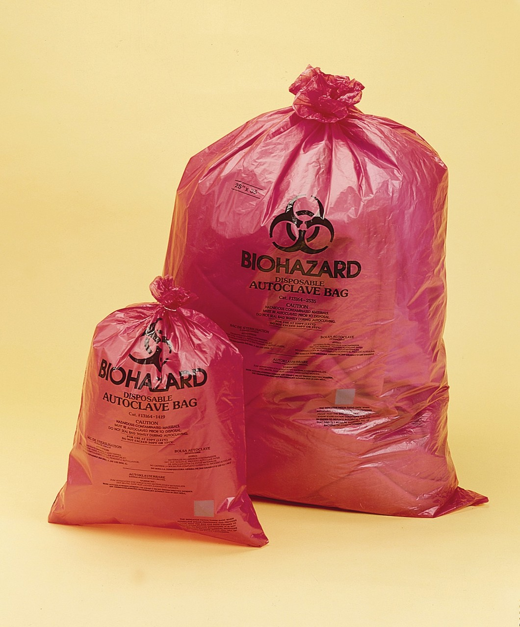 Biohazard Disposal Bags with Warning Label/Sterilization Indicator Pack of 200