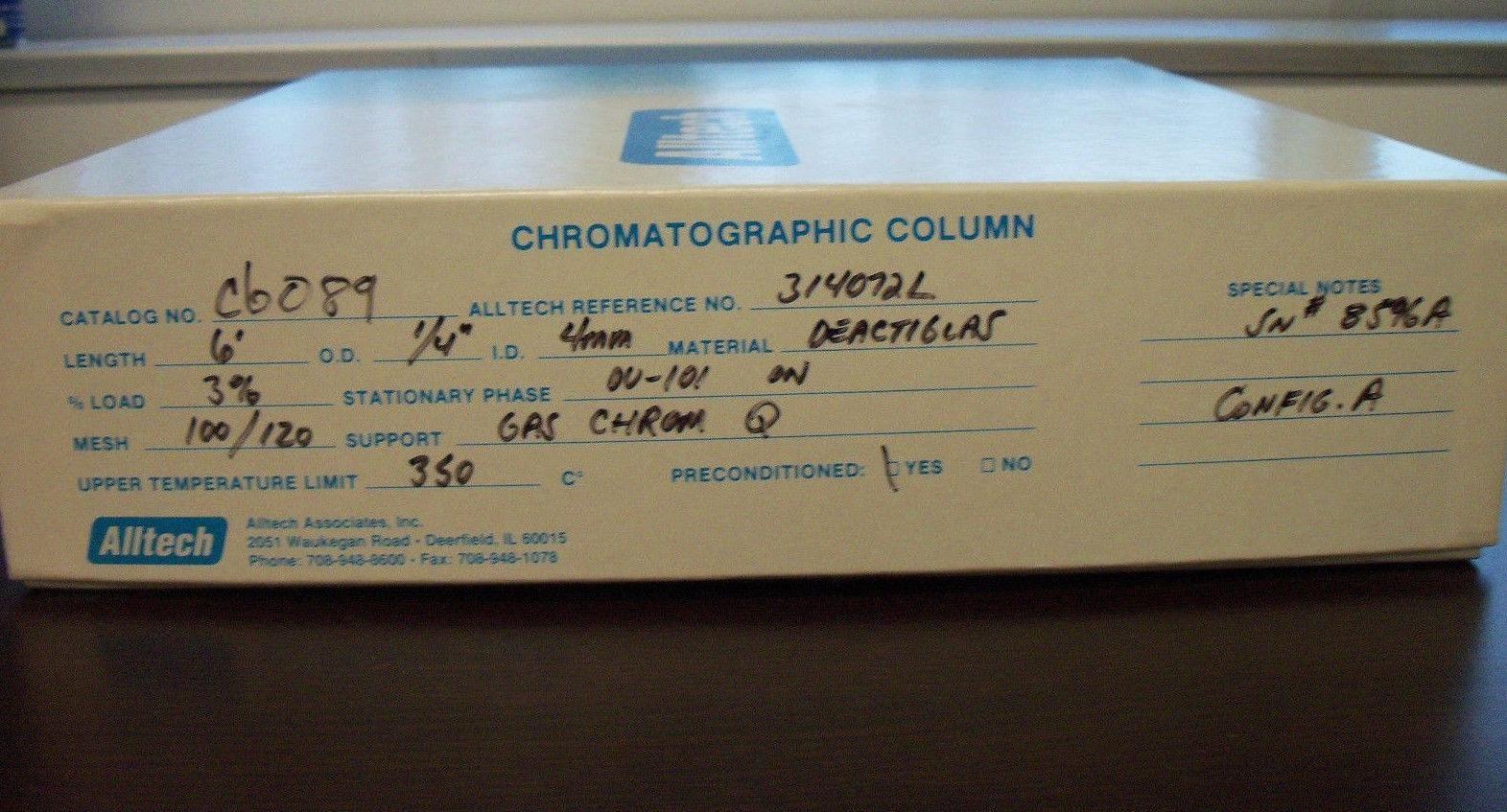 "Alltech # 314072L Deactiglas GC Column CAT # CB089: 6' Length OD 1/4"" ID 4mm"