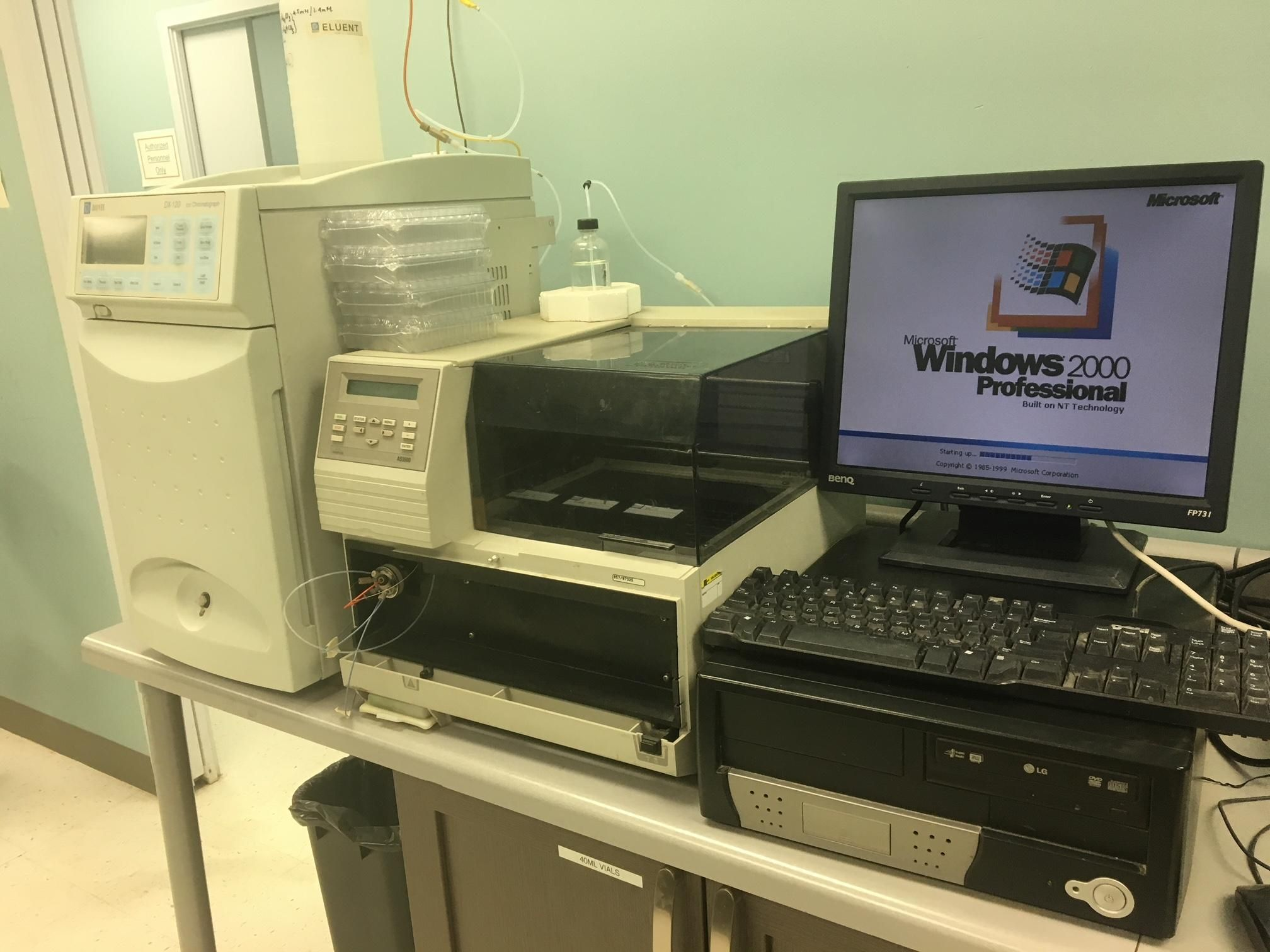 Dionex DX-120 Ion Chromatograph, A/sampler, PC, Peaknet PLUG&play [2 TWIN UNITS]
