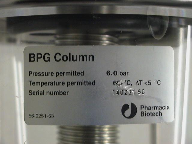 Pharmacia Biotech Amersham BPG 8LIter Chromatography Column