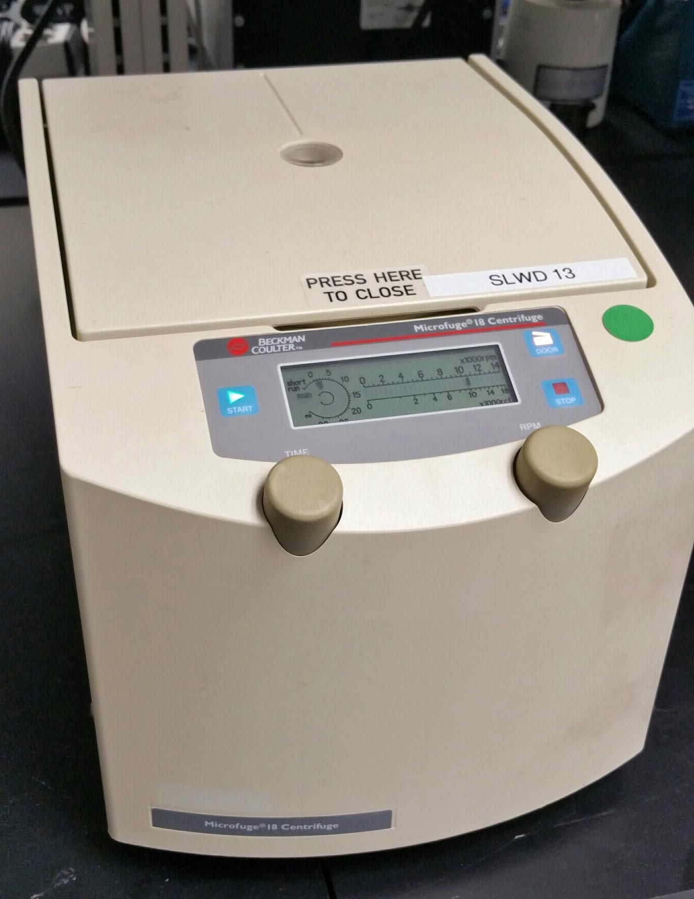 Microcentrifuge:  Beckman Coulter Microfuge 18 with rotor and warranty