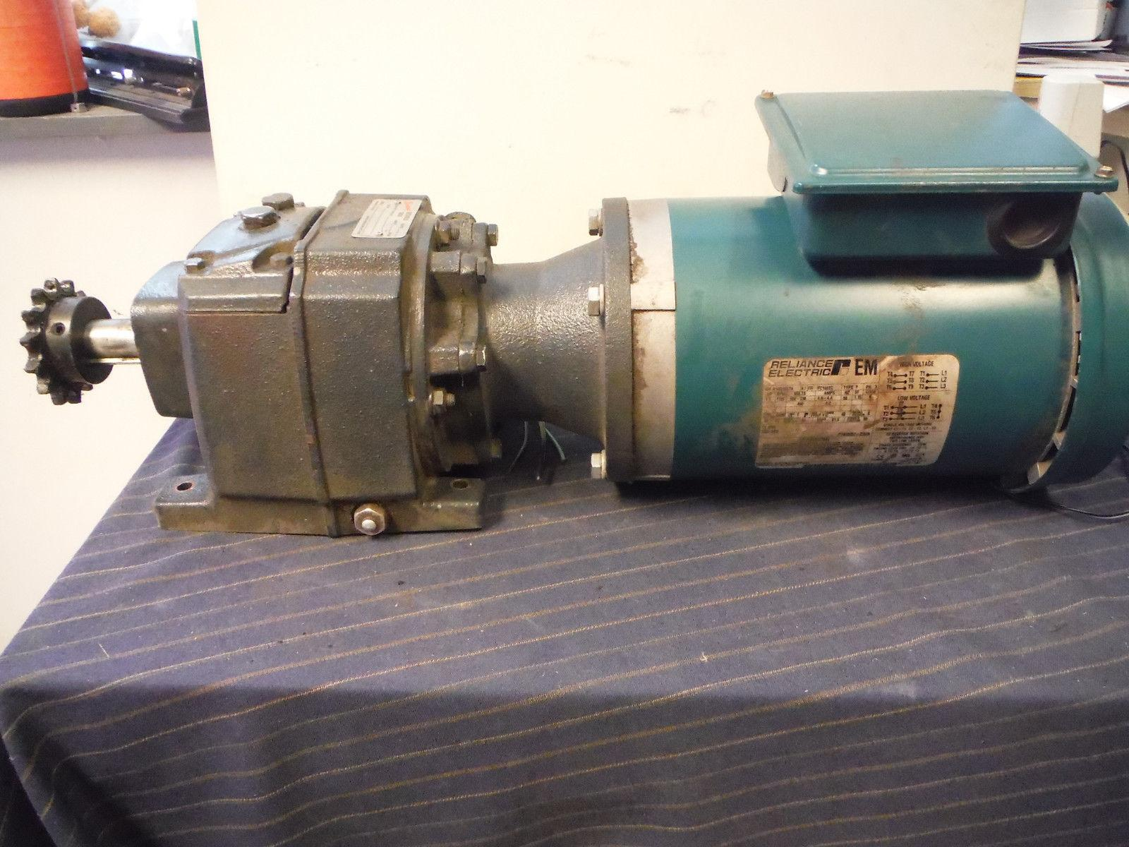 Browning 3000 Inline Gear Reducer 1750 RPM 25:1 Ratio & Reliance 1.5HP Motor
