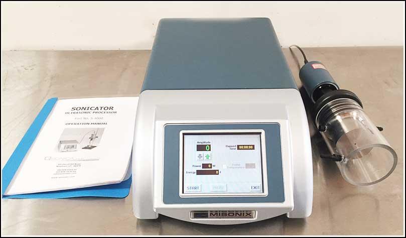 Misonix Ultrasonic Sonicator Cell Disruptor w Flow Through Cup Horn w WARRANTY
