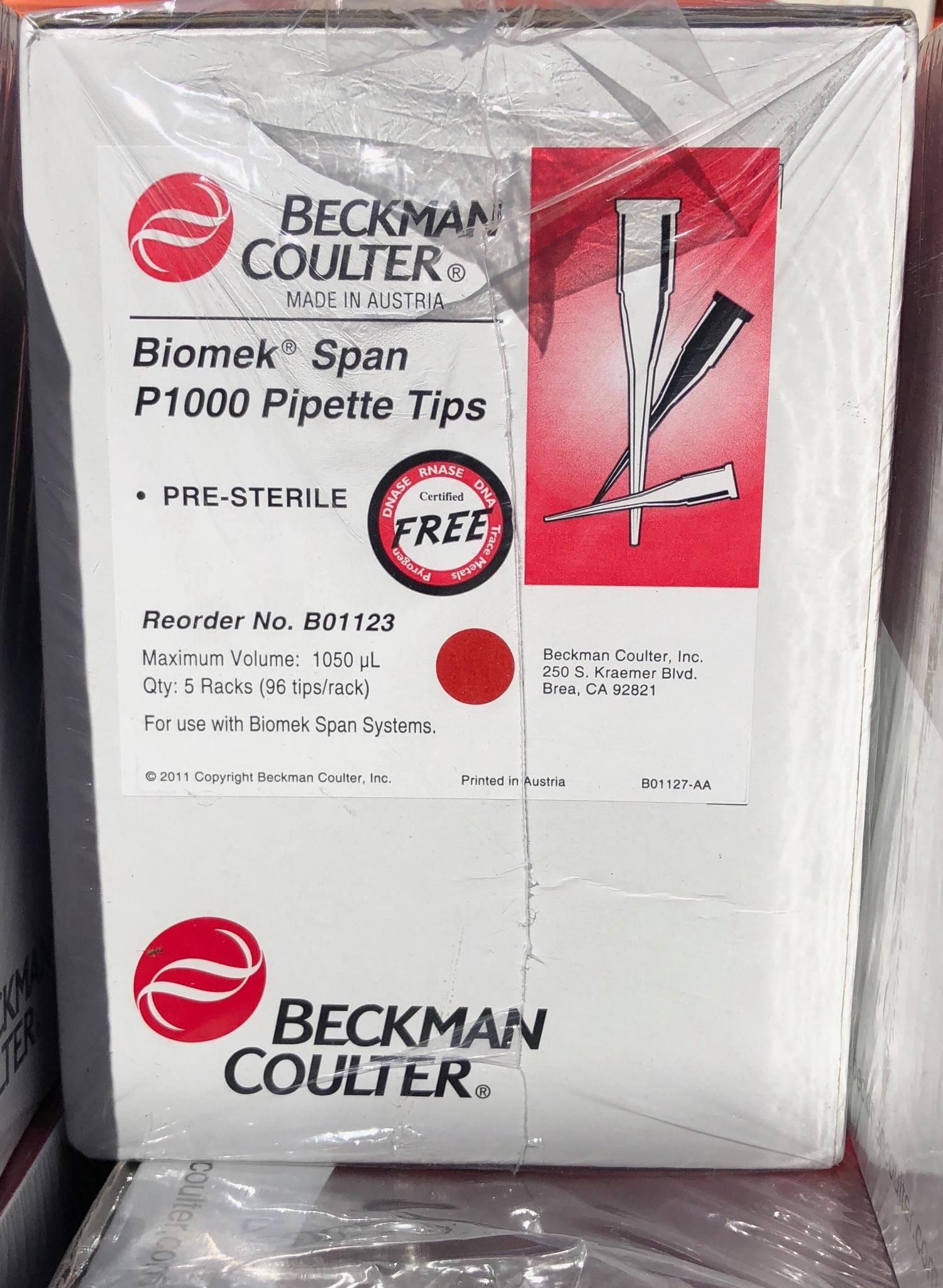 Beckman Coulter B01123-Span P1000 Pipette Tips--GREAT PRICE to STOCK UP!!