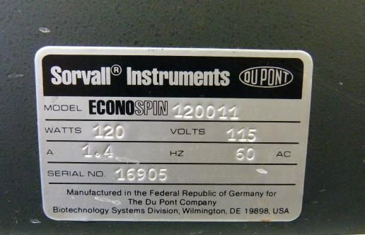 ~ Sorvall EconoSpin Bench-top Centrifuge with Swinging Bucket Rotor