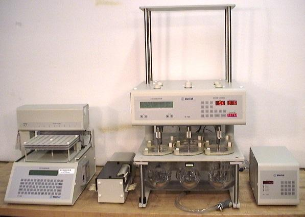 Vankel Varian VK 7000 Dissolution System with VK 750D Monitor, 17-2000 Peristaltic Pum and VK 8000