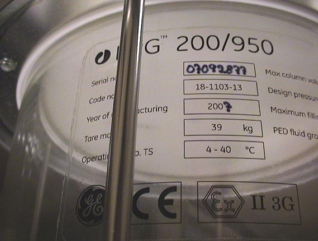 GE BPG 200-950 22.6L Chromatography Column