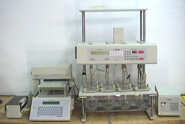 Vankel Varian VK 7000 8 stirrer Dissolution with VK750D Monitor, 17-2000 Peristaltic Pum and VK 8000