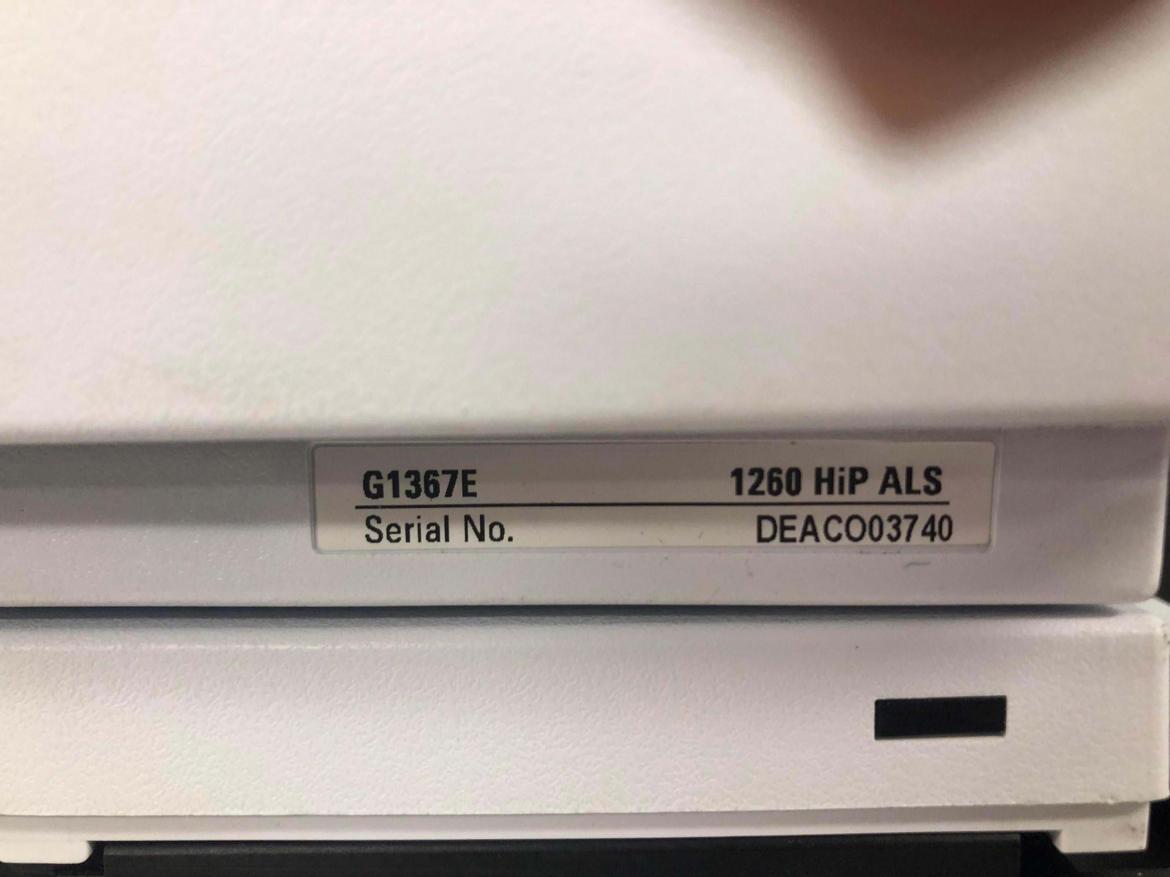 Agilent 1260 HPLC G1367E 1260 Hip ALS, G1311B QuatPump, G1315D DAD, G1316A TCC with Tray, 4 Bottles,