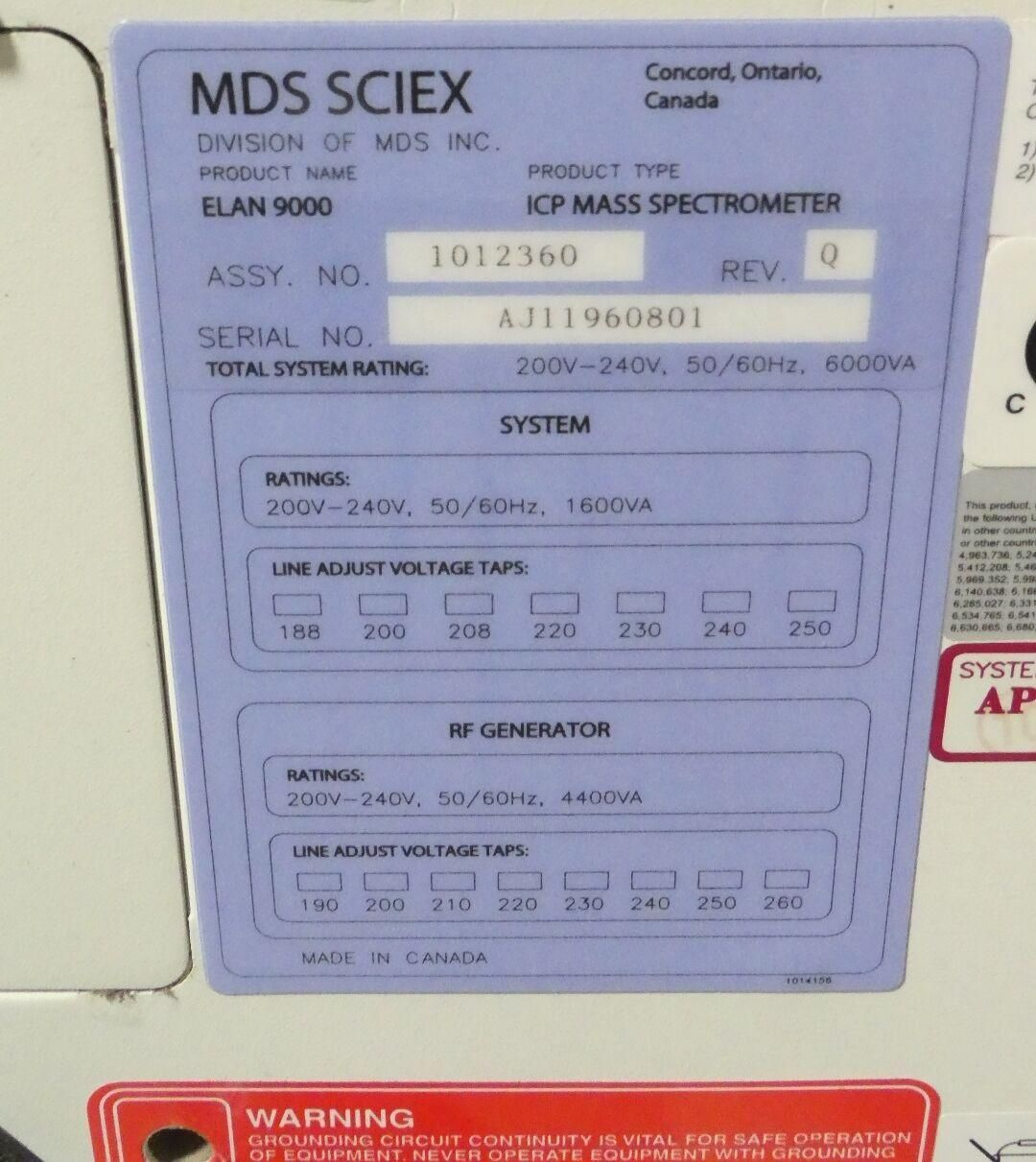 Complete Perkin Elmer Elan 9000 ICPMS with Autosampler, Chiller and 90-Day Warranty