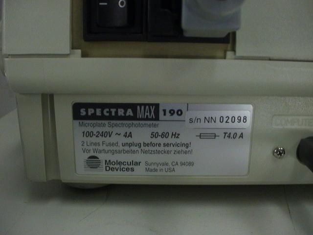Molecular Devices Spectramax 190 Microplate Reader with PC, Monitor, Keyboard and Mouse