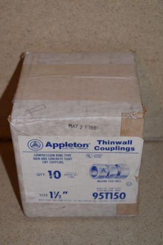 "APPLETON ELECTRIC CO THINWALL COUPLINGS  QTY 10 1 1/2"" CAT NO 95T150 - NEW"