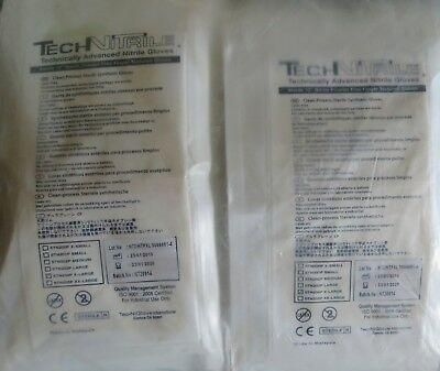 50 Pairs TechNitrile White Nitrile Cleanroom Gloves Pair Packed 12 5mil XL STN2