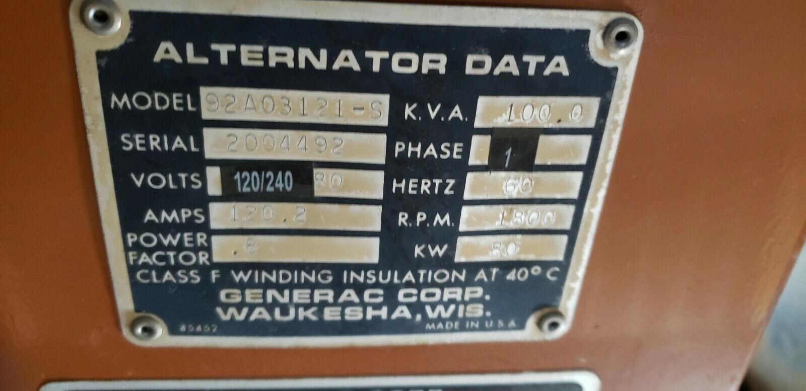 80KW Generac Generator Set, Natural Gas, Model 92A03121-S Needs Work