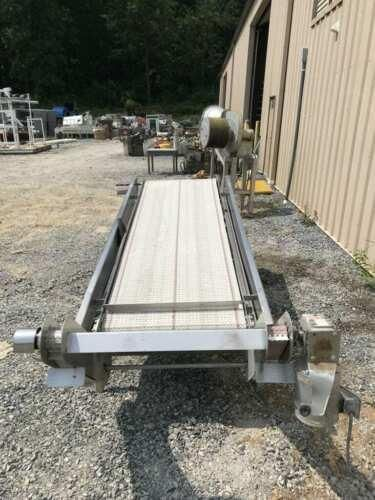"Food Grade SS 15 Incline Sorting Conveyor w/ Powered Side Belts 8ftx30""x1.5"""