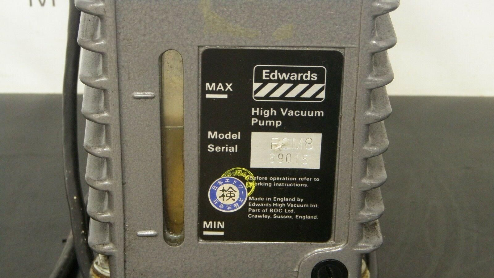 Edwards   8 Vacuum Pump E2M8 w/ EMF 10 Oil Mist Filter and Active Gauge