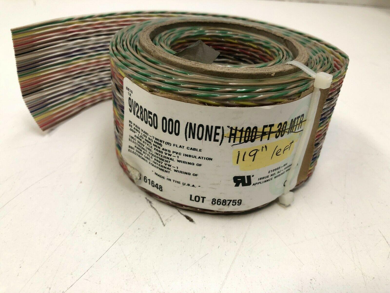 """BELDEN VARI-TWIST FLAT RIBBON CABLE 9V28050 119"""" PARTIAL ROLL"""