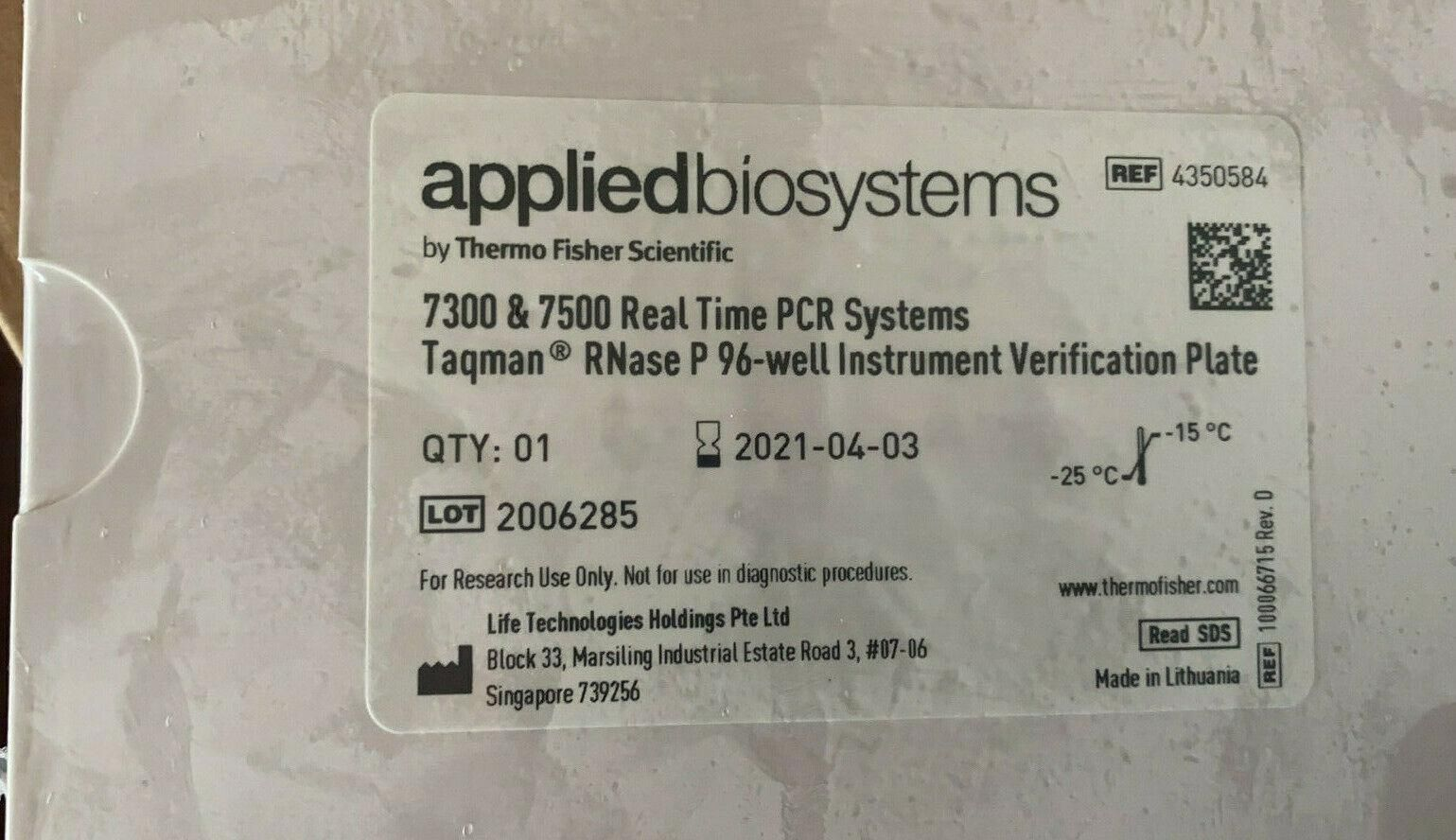 Applied ABI 7300 7500 qPCR Calibration kits 96-well TaqMan RNase P Plate 4350584