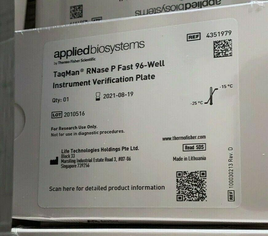 Applied Biosystems ABI Calibration kit 96well 0.1mL TaqMan RNase P Plate#4351979