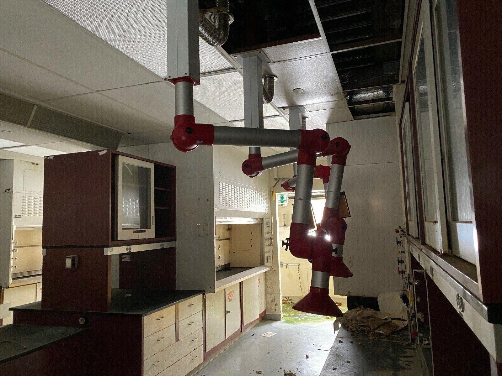 "Alsident System Fume Hood Extraction Arm Snorkler 3"" diameter Chem Lab Use"