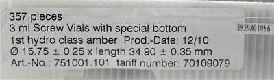 3 mL Amber Screw Vials w Special Bottom