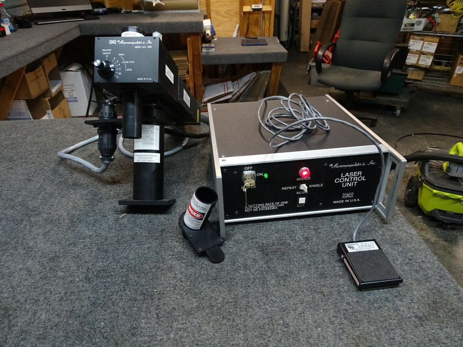 M&M Micromanipulator LAS-1000 Laser Head + Controller, Cables, Pedal, Class IIIB